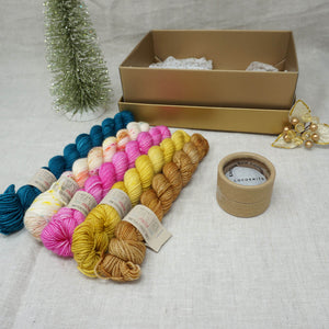 Christmas Knit or Crochet Gift 2 (5 x 20g & Cocoknits Row Counter) with Bohemian Market, Buttonwood, Barbie Girl, Wish you were Beer and Tealicious Practically Perfect Smalls Emma's Yarn