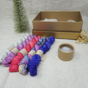 Christmas Knit or Crochet Gift 2 (5 x 20g & Cocoknits Row Counter) with Wing It, Fame & Fortune, Cactus Flower, Lilac You A Lot and Jackie O Practically Perfect Smalls Emma's yarn