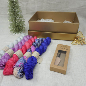 Christmas Knit or Crochet Gift 3 (5 x 20g & Cocoknits Yarn Snips) with Wing It, Fame & Fortune, Cactus Flower, Lilac You A Lot and Jackie O Practically Perfect Smalls Emma's yarn