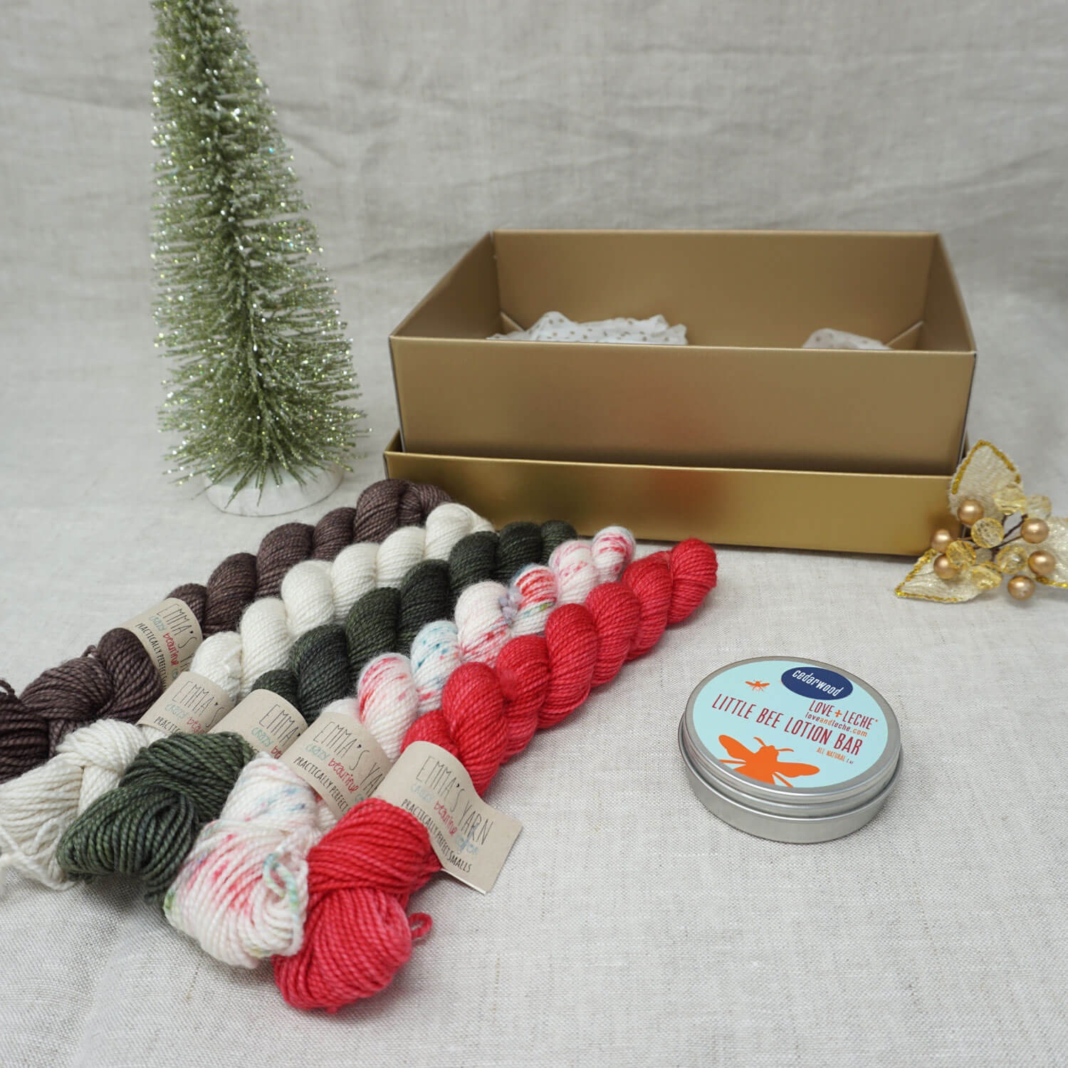 Christmas Knit or Crochet Gift 4 (5 x 20g & Love and Leche Lotion Bar) with Christmas Sprinkles, Stiletto, Kale, Whisper and Driftwood Practically Perfect Smalls Emma's Yarn