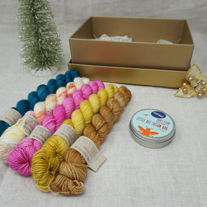 Christmas Knit or Crochet Gift 4 (5 x 20g & Love and Leche Lotion Bar with Bohemian Market, Buttonwood, Barbie Girl, Wish you were Beer and Tealicious Practically Perfect Smalls Emma's Yarn