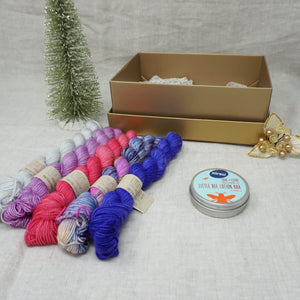 Christmas Knit or Crochet Gift 4 (5 x 20g & Love & Leche Lotion Bar) with Wing It, Fame & Fortune, Cactus Flower, Lilac You A Lot and Jackie O Practically Perfect Smalls Emma's yarn