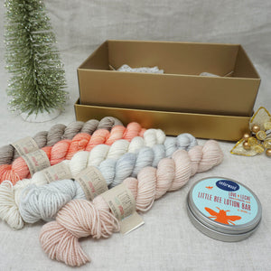 Christmas Knit or Crochet Gift 4 (5 x 20g & Love and Leche Lotion Bar) with Beach Please, Don't Call Me Peaches, Jackie O, Whisper and Himalayan Salt Practically Perfect Smalls Emma's yarn