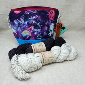 Christmas Knit or Crochet Gift 6 (2 x 100g Skeins & Project Bag) Emma's Yarn Simply Spectacular DK Double Knit Wool in After Dark and Raindrops with a Intergalactic Hillary Project bag by Beautiful Syster