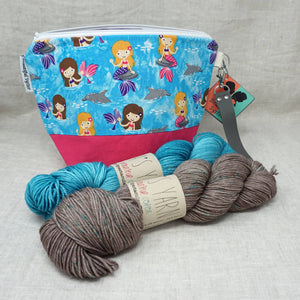 Christmas Knit or Crochet Gift 6 (2 x 100g Skeins & Project Bag) Emma's Yarn Simply Spectacular DK Double Knit Wool in Inlay and Set Sail with Mermaids Hillary Project bag by Beautiful Syster