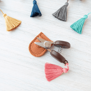 Cohana - Mini Yarn Snips shown in pink, yellow, blue, grey and green | Yarn Worx