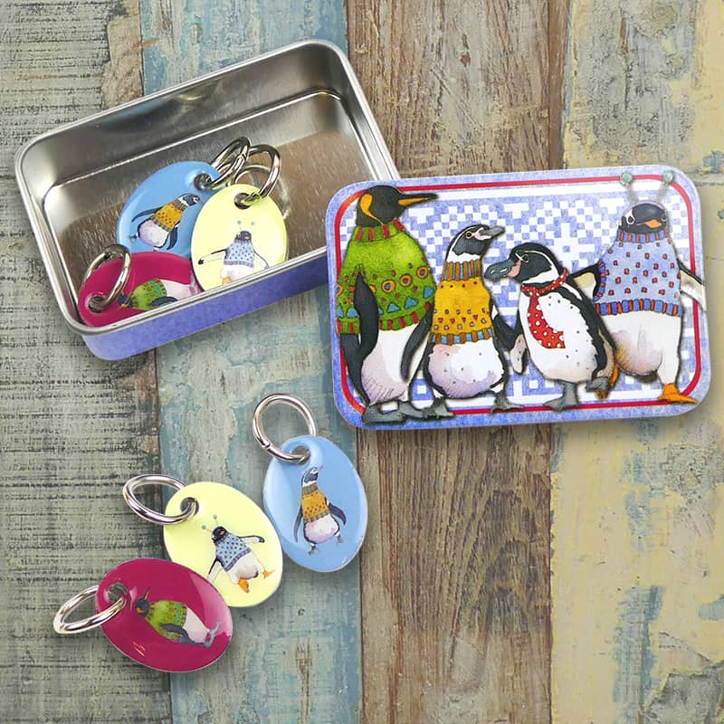 Emma Ball - Penguins in Pullovers Stitch Markers in a Tin | Yarn Worx