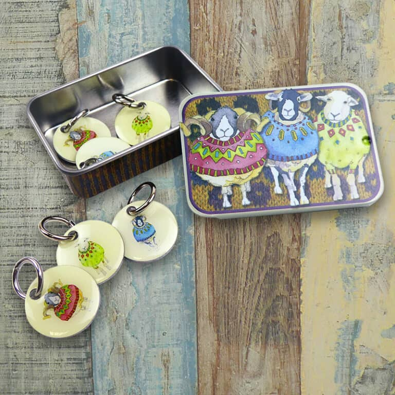 Emma Ball - Sheep in Sweaters Stitch Markers in a Tin | Yarn Worx