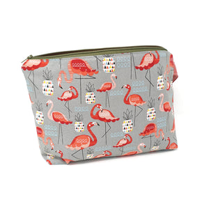Sew Ray Me Flamingos Zipped Project Bag shown open