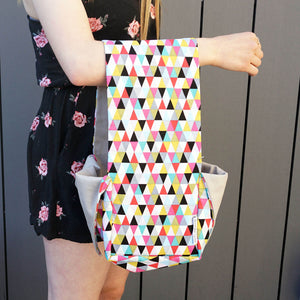 Heather Project Bag - Triangles shown being carried on a woman's arm | Yarn Worx