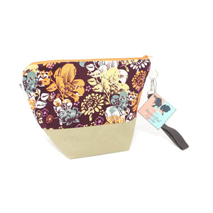 Beautiful Syster Hillary zipped project bag with flowers fabric. Bag is shown stood up.