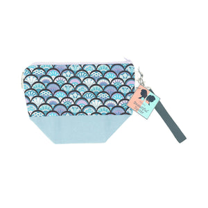 Beautiful Syster Hillary zipped project bag with mermaid scales design. Bag is shown laying flat.