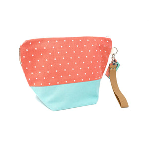 Beautiful Syster Hillary zipped project bag with strawberry effect fabric. Bag is shown standing up.