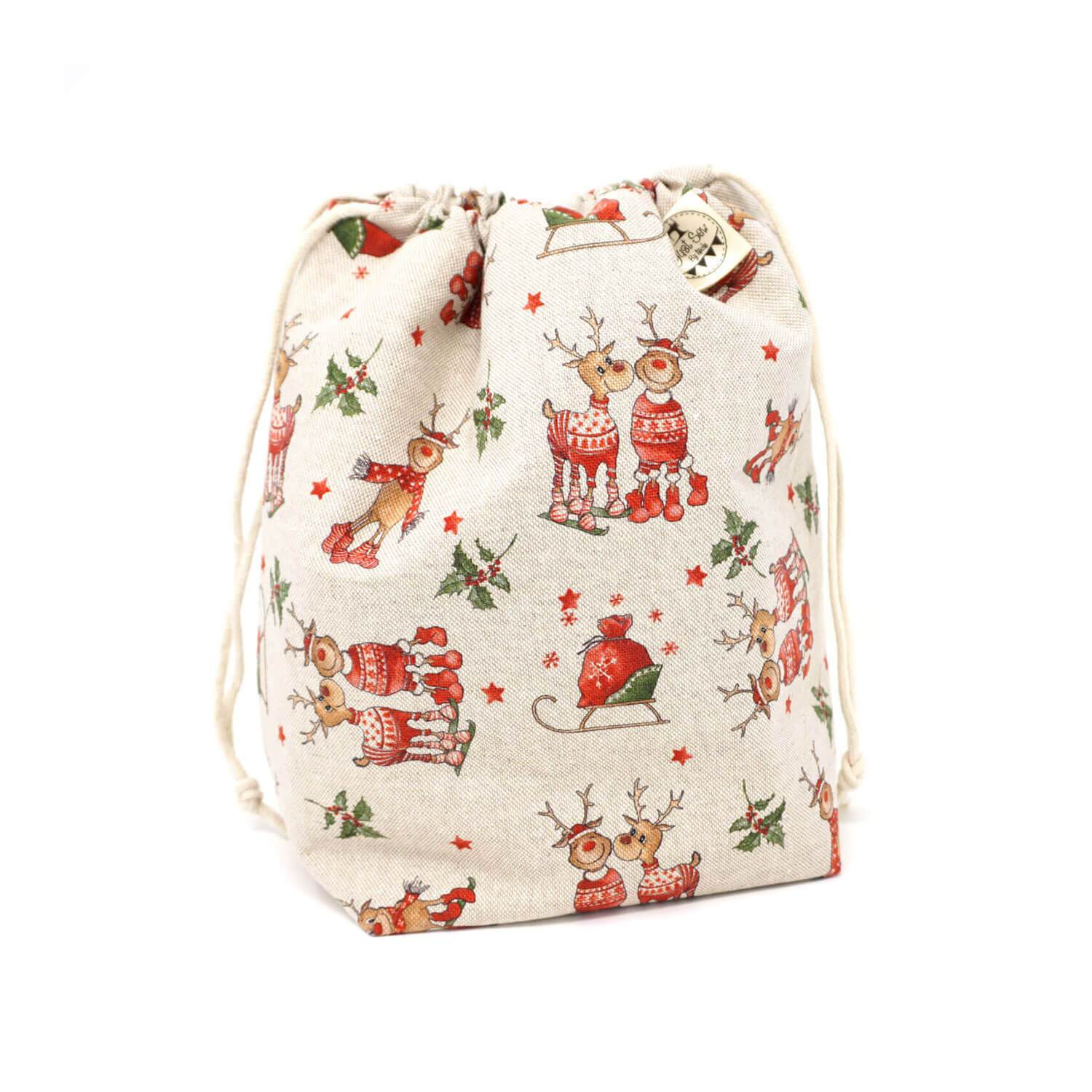 Drawstring Project Bag - Christmas - Closed