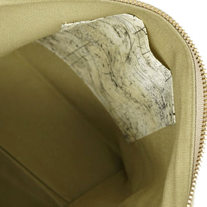 Beautiful Syster Nancy zipped project bag with brown and weathered wood effect fabric. Photo shows a closeup of the inside pocket.
