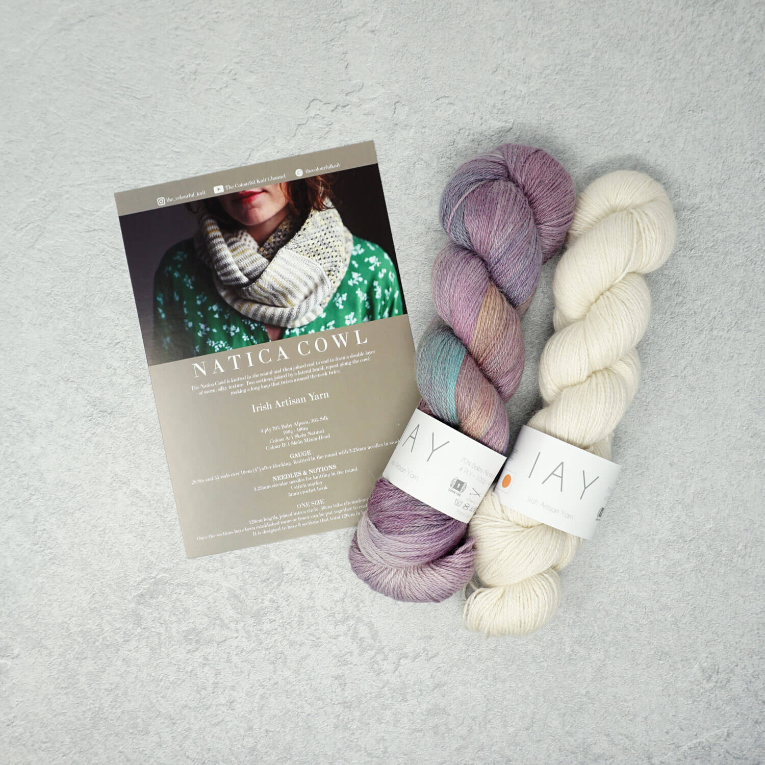 Irish Artisan Yarn - Natica Cowl Kit- 2 x 100g 4ply & Pattern | Yarn Worx