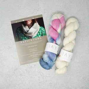 Irish Artisan Yarn - Natica Cowl Kit- 2 x 100g 4ply & Pattern Doolin and Ecru | Yarn Worx