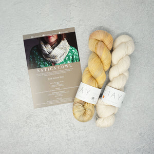 Irish Artisan Yarn - Natica Cowl Kit- 2 x 100g 4ply & Pattern Inch Beach and Ecru | Yarn Worx