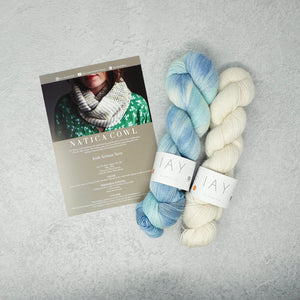 Irish Artisan Yarn - Natica Cowl Kit- 2 x 100g 4ply & Pattern Keem Bay and Ecru | Yarn Worx