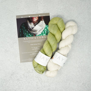 Irish Artisan Yarn - Natica Cowl Kit- 2 x 100g 4ply & Pattern Killarney and Ecru | Yarn Worx