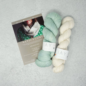 Irish Artisan Yarn - Natica Cowl Kit- 2 x 100g 4ply & Pattern Marble Hill and Ecru | Yarn Worx