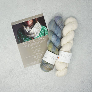 Irish Artisan Yarn - Natica Cowl Kit- 2 x 100g 4ply & Pattern Mullagmore and Ecru | Yarn Worx