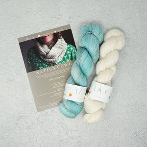 Irish Artisan Yarn - Natica Cowl Kit- 2 x 100g 4ply & Pattern Skerries and Ecru | Yarn Worx