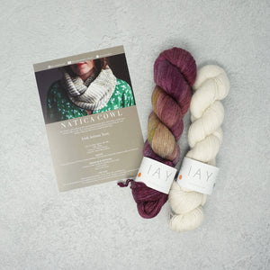 Irish Artisan Yarn - Natica Cowl Kit- 2 x 100g 4ply & Pattern Valentia Island and Ecru | Yarn Worx