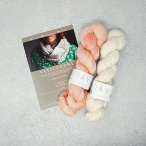 Irish Artisan Yarn - Natica Cowl Kit- 2 x 100g 4ply & Pattern Waterford and Ecru | Yarn Worx