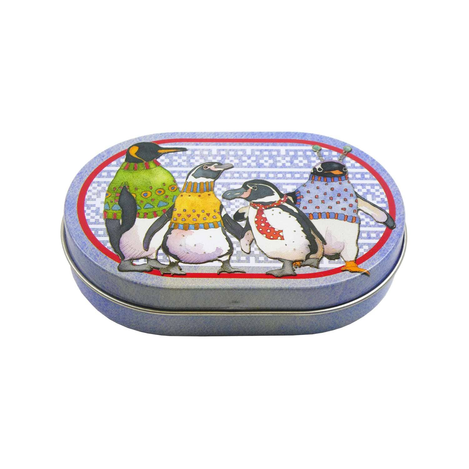 Emma Ball - Penguins in Pullovers Mini Hinged Oval Tin | Yarn Worx