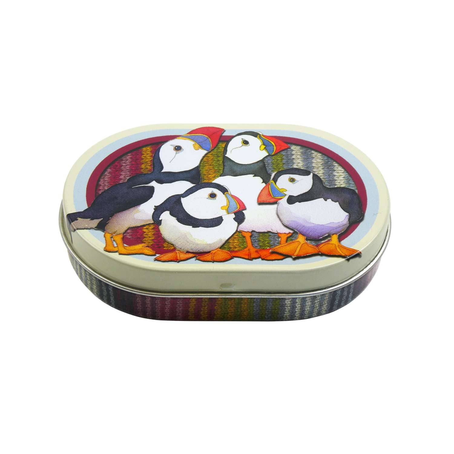 Emma Ball - Puffins Mini Hinged Oval Tin | Yarn Worx