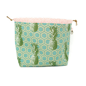 Sew Ray Me Pineapples Drawstring Project Bag shown open