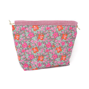 Sew Ray Me Pink Flowers Drawstring Project Bag shown open