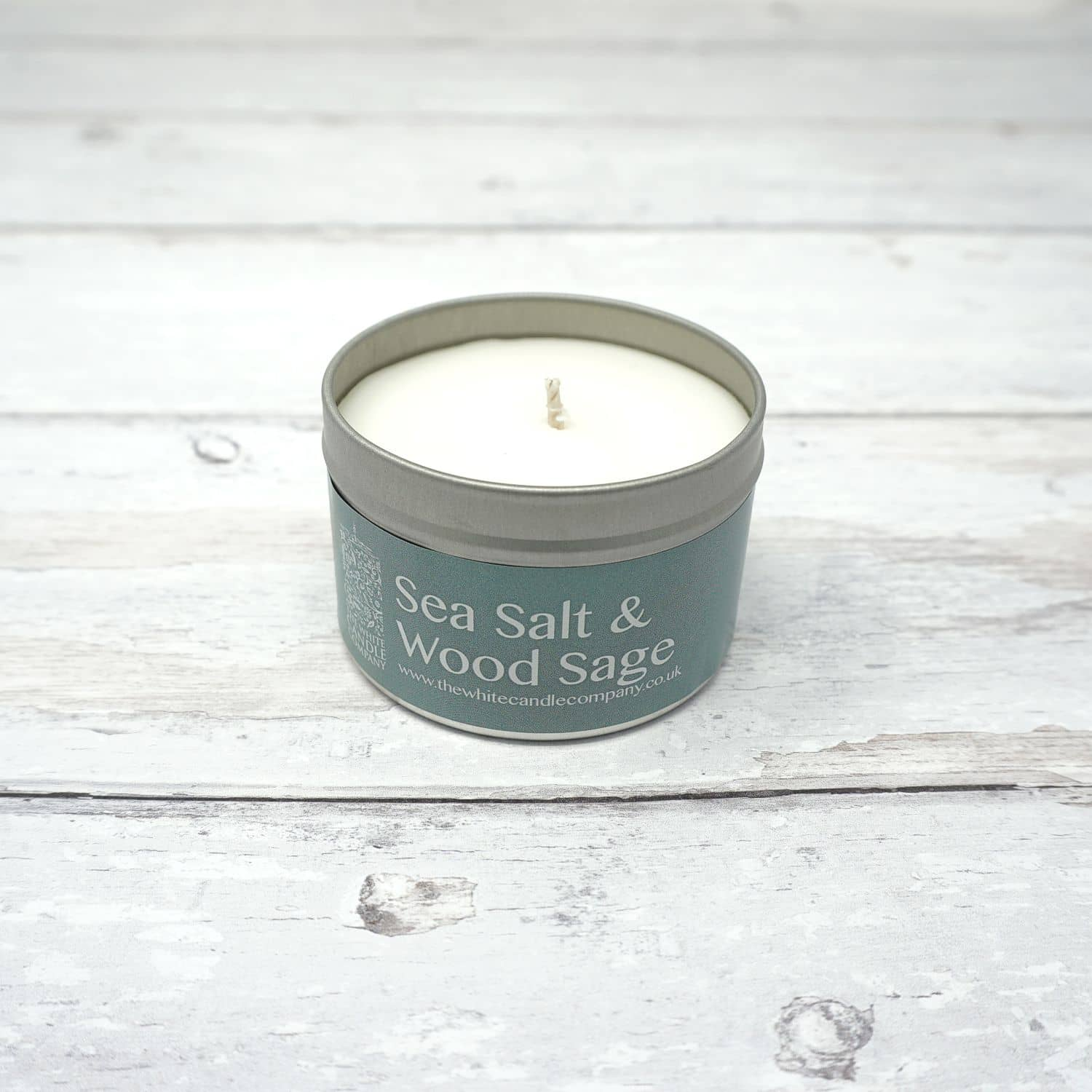 White Candle Company 100g Tin - Sea Salt & Wood Sage | Yarn Worx