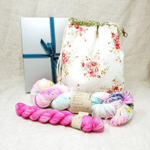 Sock Knitters Delight Gift 2 (Project Bag, Emma's Yarn Sock 1 x 100g & 1 x 20g) | 80's Rewind with Barbie Girl | Yarn Worx