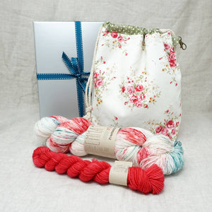 Sock Knitters Delight Gift 2 (Project Bag, Emma's Yarn Sock 1 x 100g & 1 x 20g) | Christmas Sprinkles with Stiletto | Yarn Worx