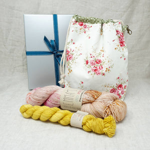 Sock Knitters Delight Gift 2 (Project Bag, Emma's Yarn Sock 1 x 100g & 1 x 20g) | Glamping with Buttonwood | Yarn Worx