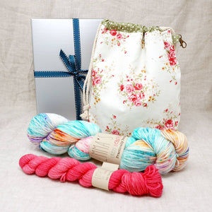 Sock Knitters Delight Gift 2 (Project Bag, Emma's Yarn Sock 1 x 100g & 1 x 20g) | Mexican Wedding Dress with Cactus Flower | Yarn Worx