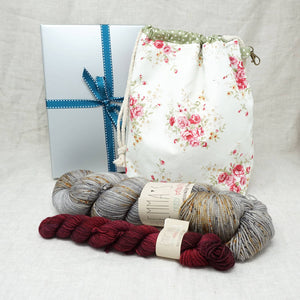 Sock Knitters Delight Gift 2 (Project Bag, Emma's Yarn Sock 1 x 100g & 1 x 20g) | Nailed It with Cherry Merlot | Yarn Worx