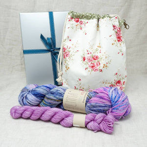Sock Knitters Delight Gift 2 (Project Bag, Emma's Yarn Sock 1 x 100g & 1 x 20g) | Wing it with Lilac You A Lot | Yarn Worx
