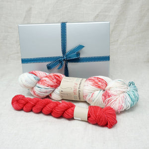 Sock Knitters Delight Gift 1 (Emma's Yarn Sock 1 x 100g & 1 x 20g) | Christmas Sprinkles with Cactus Flower | Yarn Worx