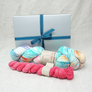 Sock Knitters Delight Gift 1 (Emma's Yarn Sock 1 x 100g & 1 x 20g) | Mexican Wedding Dress with Cactus Flower | Yarn Worx