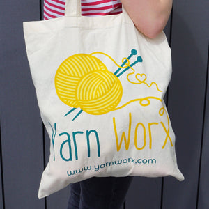 Teresa's Tote Bag shown on a woman's shoulder | Yarn Worx