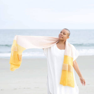 Making Magazine - No 9 - Simple woman wearing shawl on beach | Yarn Worx