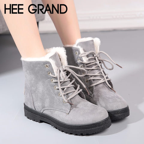 HEE GRAND Women Winter Warm Ankle Boots Lace up Platform Women Snow Boots Faux Fur Shoes Woman Suede Creeper Casual Flats XWM257