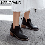 HEE GRAND Motrcycle Boots Rubber Women Ankle Boots Square Heels Platform Shoes Woman Casual Slip On Flat Women Shoes XWX6838