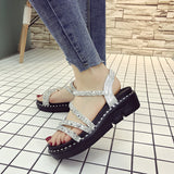 HEE GRAND 2019 New Summer Flats Womens Fashion Elastic Band Pu Leather Flat Shoes Bling Bling Solid Sandals XWZ5548