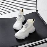 Fashio Sneakers Breathable Vulcanize Shoes For Women Mesh Boots Platform Lace-up High Top Sock Sneakers White Shoes XWX7329