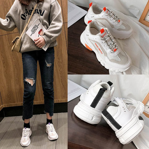 Shoes Women Fashion Sneakers Breathable Vulcanize Shoes For Women PU Mesh Shoe Platform Lace-up Low Heel Sneakers XWD7629