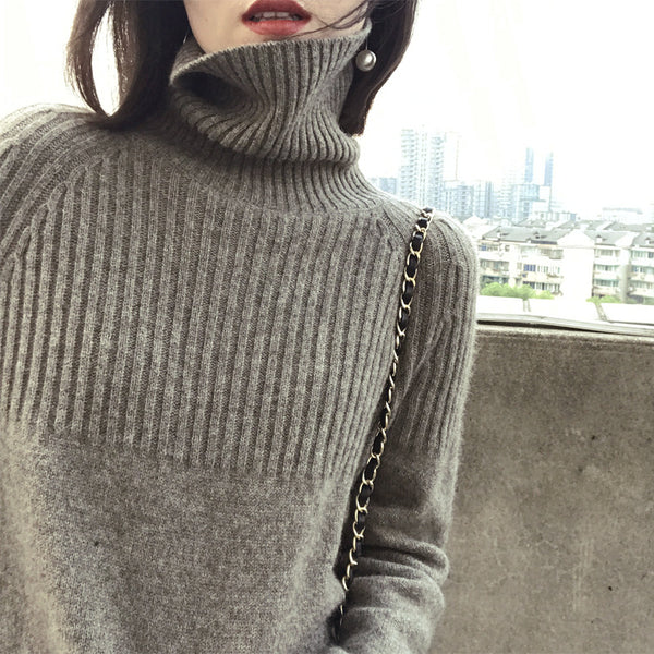 Women's Knit Lightweight Turtleneck Classic Pullover Long Sleeve Sweater Tops